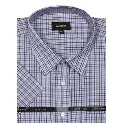 METAPHOR  SHORT SLEEVE CHECK SHIRT NAVY/FAWN 2 - 8XL