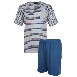 ESPIONAGE JERSEY SHORT PYJAMA SET TEAL / GREY 2 - 8XL