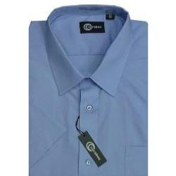 CARABOU Easy Care Plain Short Sleeve Shirt BLUE