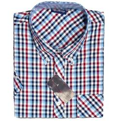 SALE - ESPIONAGE Check Casual Short Sleeve Shirt NAVY/BLUE/RED 7 - 8XL