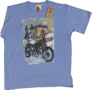 ESPIONAGE Apparel Cotton Tee VINTAGE MOTORBIKE MARL BLUE 7XL