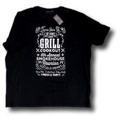 ESPIONAGE BLACK Cotton Print Tee GRILL COOKOUT 2XL
