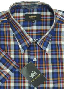METAPHOR Check Casual shirt NAVY/RED/ORANGE MULTI 2XL