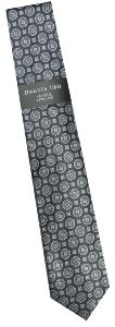 DOUBLE TWO Extra Long Patterned Tie BLACK/SILVER