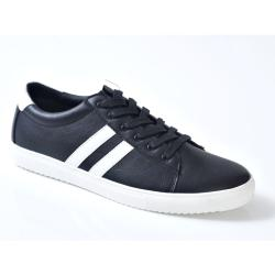 D555 Kingsize Lace up Trainer with contrast Stripe FLOYD BLACK