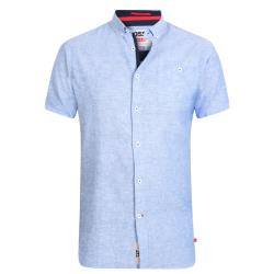 D555 KING SIZE SHORT NATURAL LINEN-COTTON SHIRT  BRIXTON LIGHT  BLUE  3 - 6XL