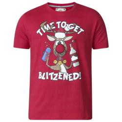 D555  TIME TO GET BLITZENED CHRISTMAS TEE SHIRT   RED