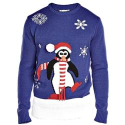 D555 Christmas Jumper with 3D Carrot nose, Scarf and Pom Pom ROYAL BLUE 2-3XL