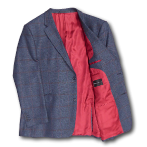 SALE - HUGO JAMES Wool Herringbone jacket with OverCheck BLUE 50 - 58""