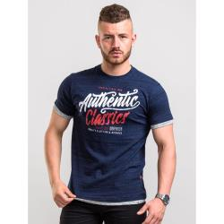D555  AUTHENTIC CLASSICS PRINT TEE SHIRT WITH DOUBLE LAYER CUFF AND HEM FINN NAVY SPACE DYE 3 - 8XL