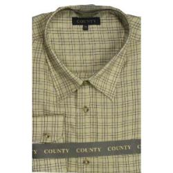 COUNTY Tattersall Brushed Check Shirt STRAW/BLUE/WINE CHECK