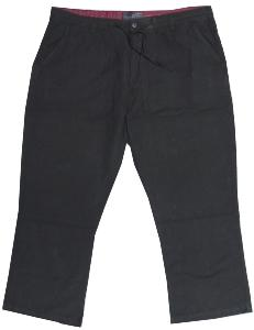 ED BAXTER Linen/Cotton Wide Fit  trousers BLACK 44 - 58""