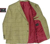 SALE - HUGO JAMES PURE WOOL  British Made Traditional Check Jacket GOLD 60 - 64 SHORT