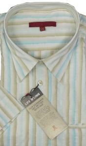LIFE & LIMB Striped Woven Shirt with 'Active Stretch' IVORY 4XL