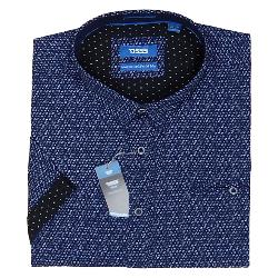 D555 KINGSIZE SHORT SLEEVE GEO PRINTED SHIRT WITH CONCEALED BUTTON DOWN COLLAR BARLOW NAVY 3 - 6XL