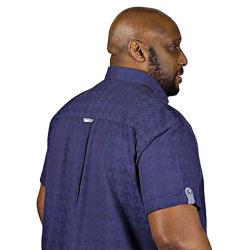 D555 KING SIZE SHORT SLEEVE COTTON BLUE PATTERNED COTTON SHIRT ARNOLD NAVY 3 - 6XL