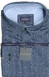 SALE - OAKMAN Long Sleeve Cotton Printed Shirt NAVY 3XL