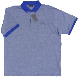ESPIONAGE Yarn dyed Slub effect polo with pocket BLUE