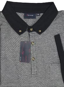 ESPIONAGE Yarn dyed Slub effect polo with pocket BLACK