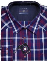 KAM Long Sleeve Casual Check Shirt   RED / NAVY