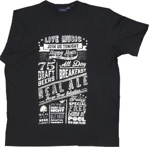 ESPIONAGE Printed Cotton Tee REAL ALE BLACK 2XL