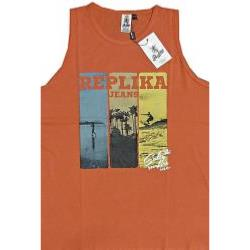 REPLIKA JEANS  Cotton Tank Top Surf Print Vest ORANGE