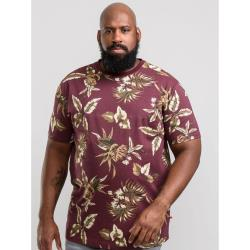 D555  BIG MENS ALL OVER HAWAIIAN PRINT  TEE  BAXTER WINE  3 - 6XL