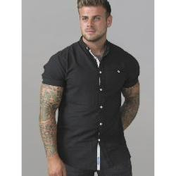 D555  Short Sleeve Oxford Collarless Shirt BLACK