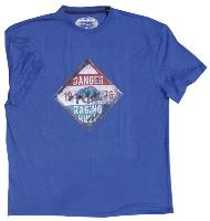 RAGING BULL Danger Sign Tee Shirt BLUE