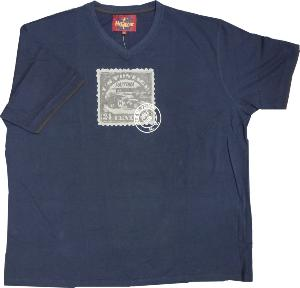 METAPHOR Vee Neck Tee  DAYTONA STAMP NAVY 7XL