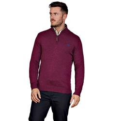 RAGING BULL COTTON CASHMERE QUARTER ZIP  SWEATER BURGUNDY