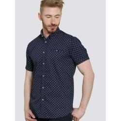 D555 KINGSIZE SHORT SLEEVE GEO PRINTED SHIRT BARRINGTON NAVY 3 - 6XL