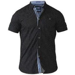 D555  Four Dot  Geometric  Print Shirt with hidden Button Collar OLLIE