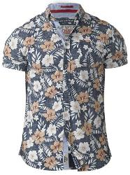 D555 Short Sleeve Hawaiian Print Shirt HUXLEY NAVY 3 - 8XL