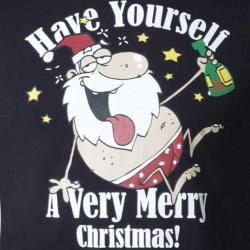 D555 MERRY CHRISTMAS TEE SHIRT MISTLETOE  BLACK 3 - 5XL