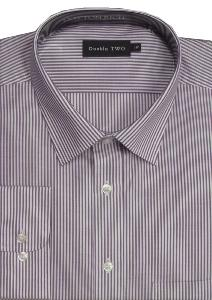 DOUBLE TWO Cotton Rich Classic Stripe Business Shirt WINE/WHITE