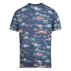 D555  CHESTER ALL OVER HAWAIIAN PRINT  TEE  NAVY MARL  3 - 6XL
