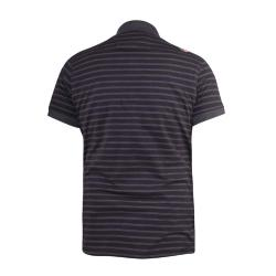 NEW - D555 YARN DYED STRIPED  JERSEY POLO WITH CHEST POCKET BLACK/CHARCOAL  PERTH  3 - 8XL