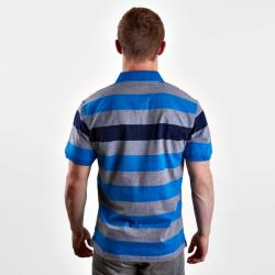 SALE - RAGING BULL BROAD STRIPED JERSEY POLO GREY/NAVY/BLUE 3 - 6XL