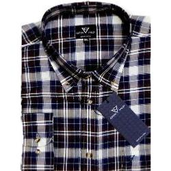 SALE - COTTON VALLEY Brushed Check Long Sleeve Shirt NAVY 3XL