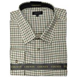 SALE - COUNTY Tattersall  Brushed Classic Check Shirt BROWN/GREEN 2 - 3XL