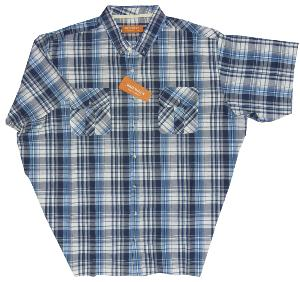 BROOKLYN Natural Cotton Check shirt with twin chest pockets BLUE