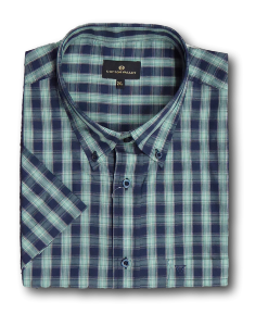 COTTON VALLEY Cotton rich Check Shirt LOVAT/NAVY