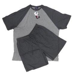 ESPIONAGE MENS BIG SHORTY PYJAMA SET CHARCOAL/GREY