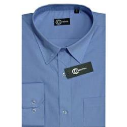 SALE - CARABOU Easy Care Long Sleeve Plain Shirt  MID BLUE 2 - 3XL
