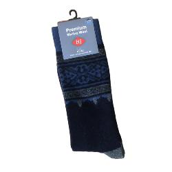 HJ Hall MERINO WOOL Large Sock SHETLAND PANEL BLUE