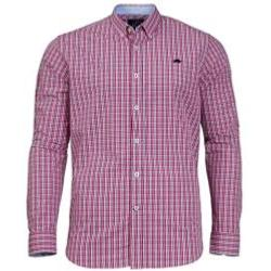RAGING BULL SHIRTS - Long Sleeve Natural Cotton Gingham Check  Shirt PINK 3 - 5XL