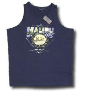 ESPIONAGE Printed Cotton Vest 'MALIBU' NAVY