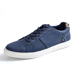 D555 Lace up Pump Trainer Shoes  with Perforated Trims NAVY