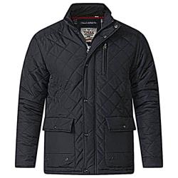 SALE - D555  FLEECE LINED QUILTED COAT JUSTIN BLACK 3 - 7XL